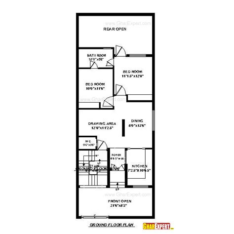 60 sq feet house plan for 24 feet by 60 feet plot plot size160