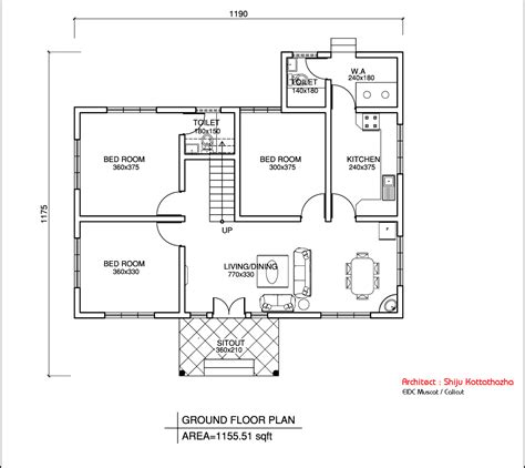 Single Floor Home Plans by Single Floor Kerala Style House Design 1155 Sq Ft
