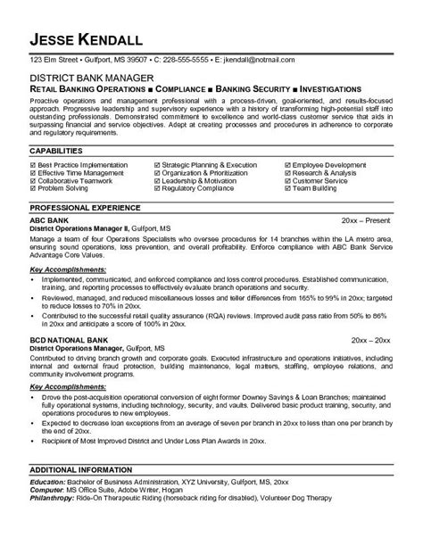 Resume Format Banking Operations Exle District Bank Manager Resume Free Sle
