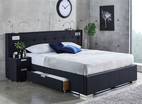 Dreams Bedroom Furniture Cole Midnight Blue Fabric Bed Frame With Sound System