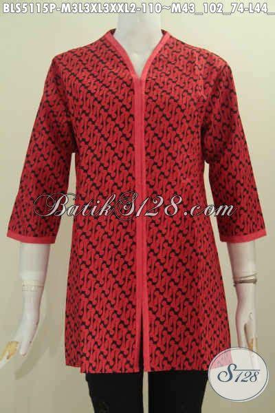 Blus Batik Cahya Merah M Xl baju blus batik plisir polos dengan motif parang baju