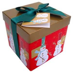 folded gift box with lid and bow sm gold red snowmen