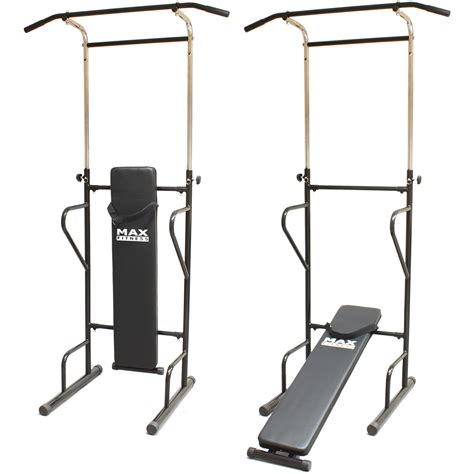 weight bench with pull up bar max fitness power tower push pull up bar press ups sit chin dips home gym bench ebay
