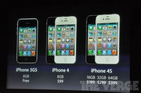 iphone 4s pricing 16gb is 199 32gb is 299 64gb is 399