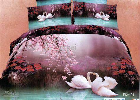 Sprei Set Swan In Violet King Size Ukuran 180 X 200 1 3d purple blue swan floral comforter bedding set sets king size duvet cover bedspread bed
