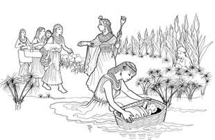moses in the bulrushes coloring page pages sketch template