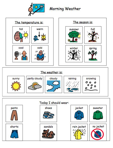 weather worksheets for special needs students special education adapted calendar activities language