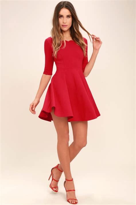 lulu s cute red dress scalloped dress skater dress 46 00