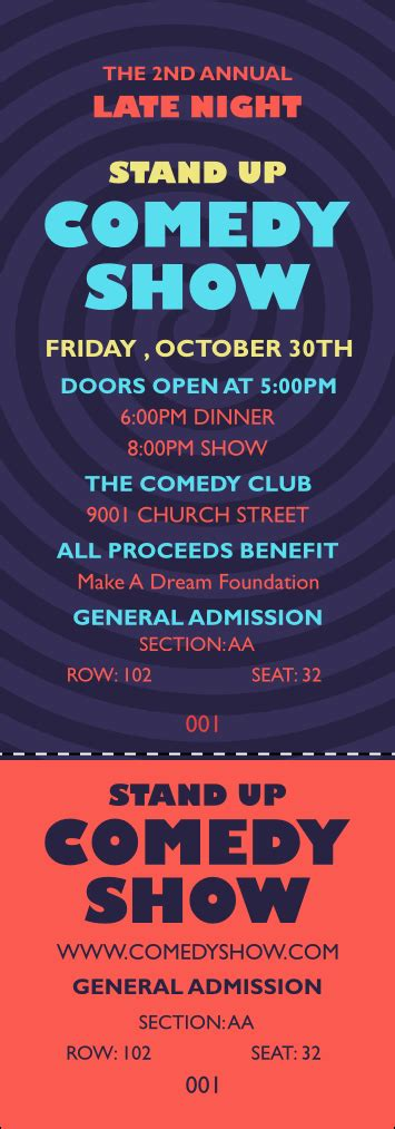 Comedy Spirals Reserved Event Ticket Comedy Show Ticket Template