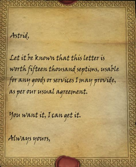 Special Letter Of Credit letter of credit skyrim elder scrolls fandom powered