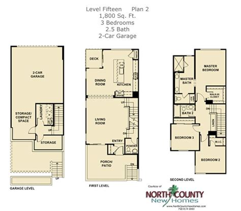3 Story Townhome Plans by New Townhomes In Escondido Selling At Level Fifteen From