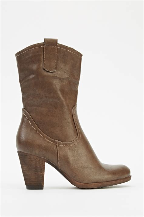 faux leather heeled cowboy boots khaki just 163 5