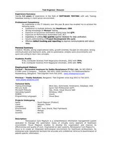 sle resume for experienced software tester electrical test engineer sle resume free weekly