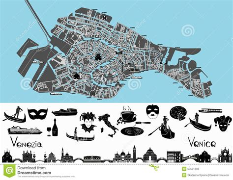 Italian House Plans venice map with symbols and landmarks stock vector image