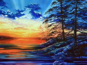 Summer Duvet Cover Glorious Lake Sunset Painting By Hanne Lore Koehler