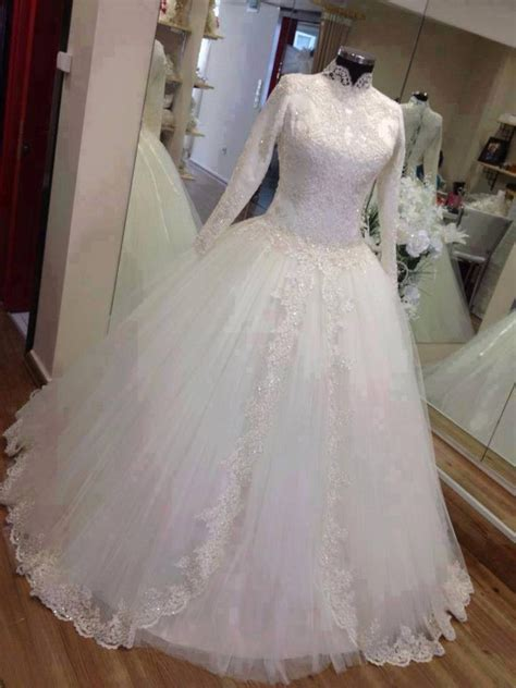 wedding gowns for women over 45 full sleeves ball gowns tulle lace wedding dresses high