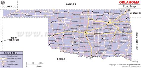 road map of oklahoma and texas oklahoma road map http www mapsofworld