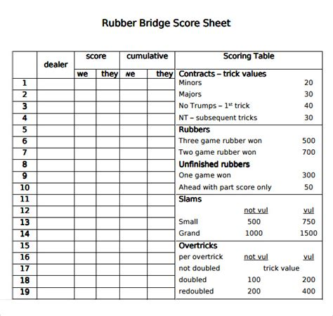 bridge score sheet sle bridge score sheet 9 free documents in pdf