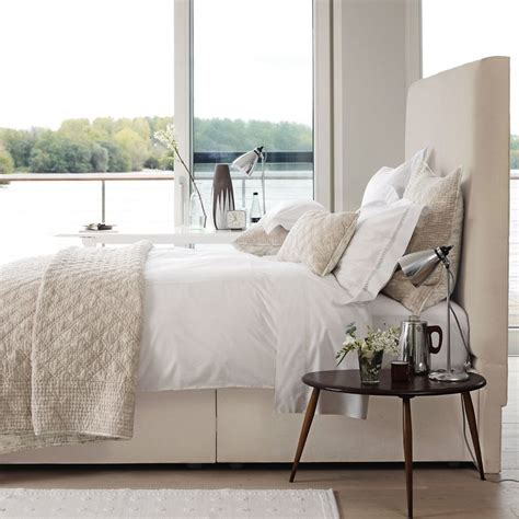high fabric headboards high fabric headboard cream neutral bedroom home sweet