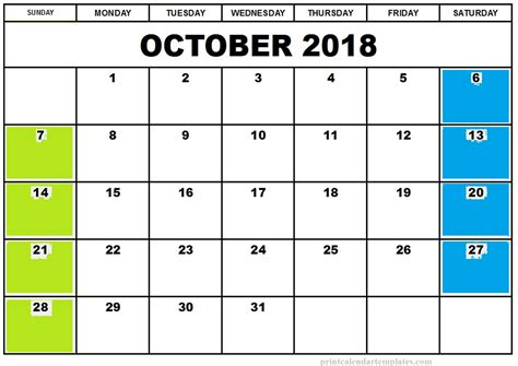 printable calendar 2018 october october 2018 printable calendar printable calendar templates