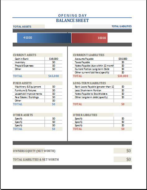 Opening Balance Sheet Template opening day balance sheet template for excel excel templates