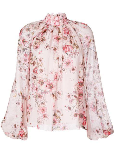Blouse Flower Giambattista Valli High Neck Floral Blouse In Pink Lyst