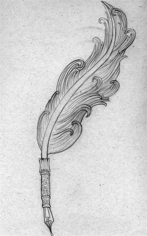 quill sketchbook quill drawing of a feather quill pen that i