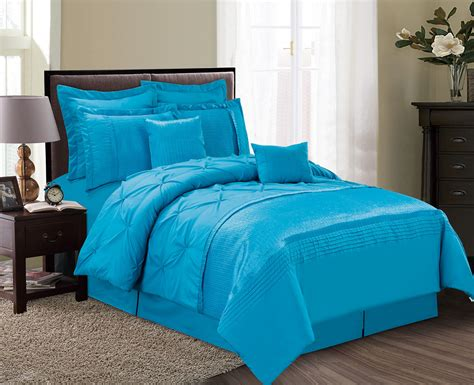 blue queen comforter sets 8 piece aubree pinched pleat ocean blue comforter set