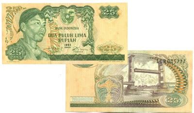 1 Rupiah Sudirman 1 Lembar uang kuno 1968 seri sudirman