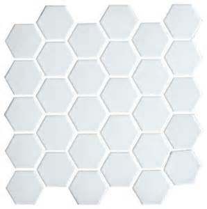 porcelain hexagon mosaic white transitional wall and