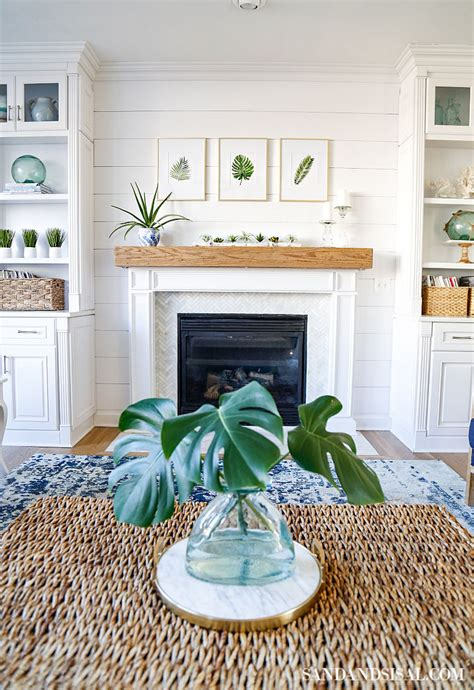 easy  inexpensive shiplap fireplace wall sand  sisal