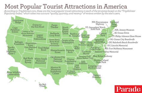 the most popular tourist attractions in each of the 50 states