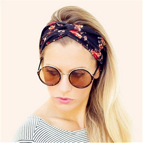 Hair Band 01 vintage headband floral wide stretch hair band
