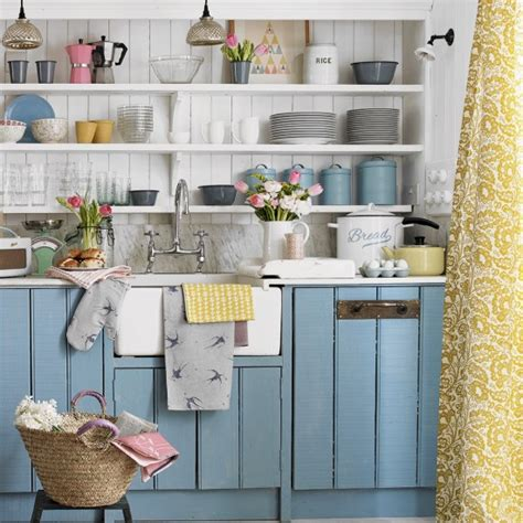 Country Kitchen Painted Cabinets Country Kitchen With Blue Painted Cabinets And Open Shelving Housetohome Co Uk
