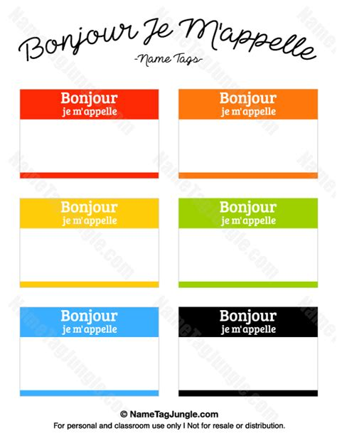 Free Printable Quot Bonjour Je M Appelle Quot French Name Tags The Template Can Also Be Used For Volunteer Name Tag Template