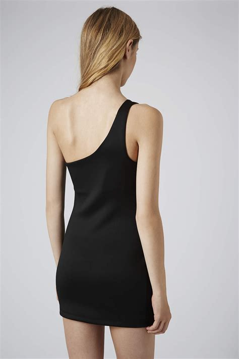 Topshop Black Mini Dress topshop one shoulder zip mini dress in black lyst
