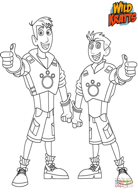 kratts coloring page chris and martin kratts coloring page free printable