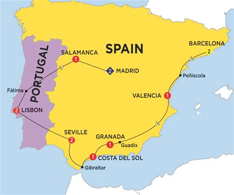 spain and portugal map highlights of spain morocco and portugal trafalgar usa