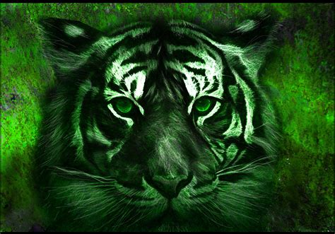 Asian Duvet Cover Green Tiger Painting By Michael Cleere
