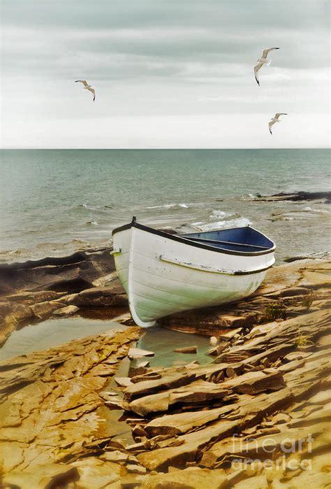 row the boat onesie row boat on rocky shore photograph by jill battaglia