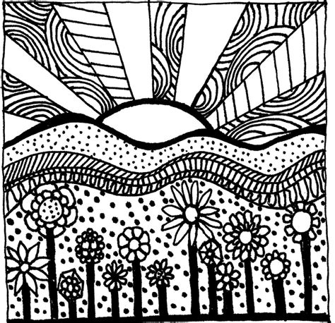 free printable zentangle pages zentangle sunset coloring sheet coloring drawing and