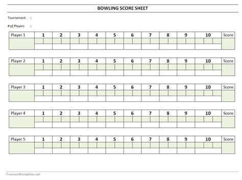 bowls score cards template bowling score sheet
