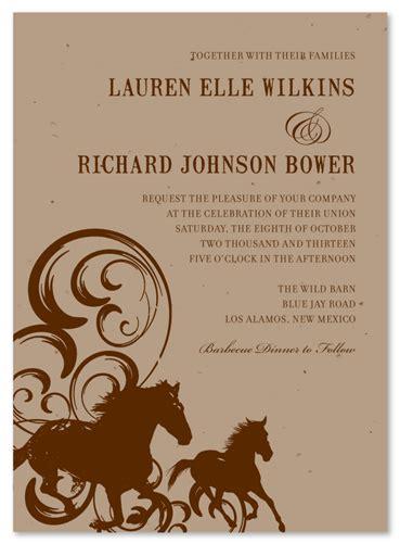 Western Wedding Invitation Paper by Western Wedding Invitations On Seeded Paper Horses