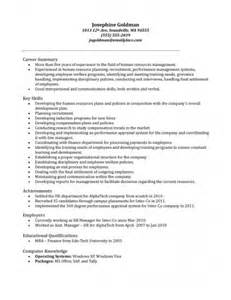 Human Resource Manager Sle Resume by Hr Manager Resume Sle