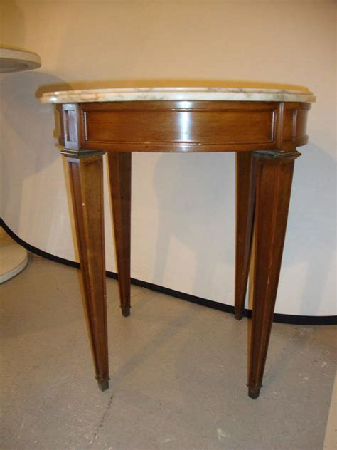 small marble top end table or pedestal louis xvi style for