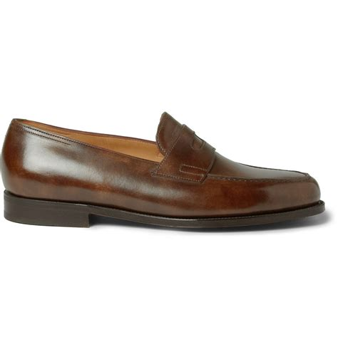 brown leather loafers lobb leather loafers in brown for lyst