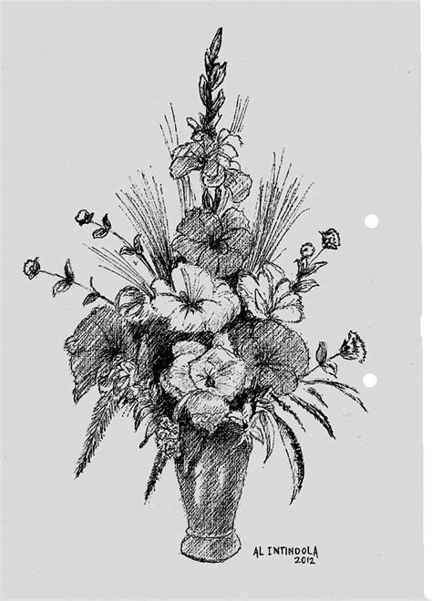 Ink Al pen and ink flowers drawing by al intindola
