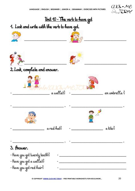 Find With Pictures Grammar Exercises With Pictures Verb To Got 2