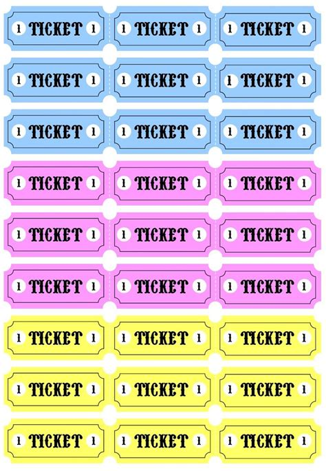 printable pretend tickets play tickets printable drama and acting pinterest