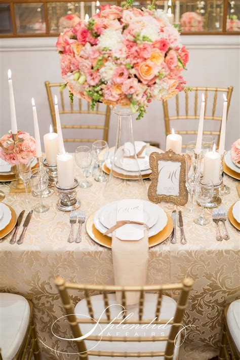 Coral and gold wedding reception inspirations. Flowers